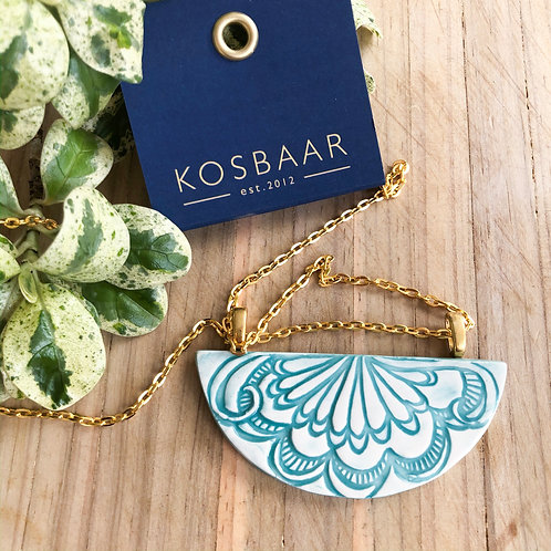 Porcelain Fan pattern imprinted necklace - Aqua + Gold