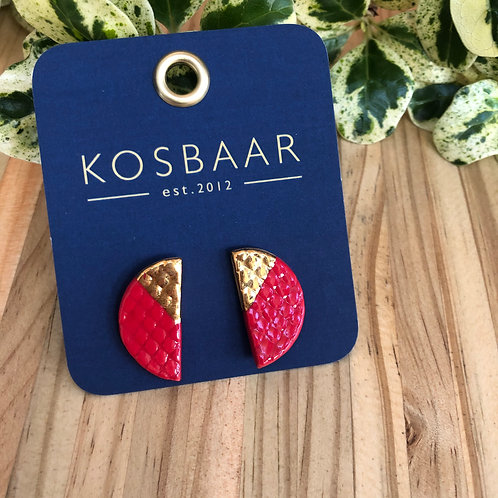 Porcelain Half Circle stud earrings - Red and 18kt Gold