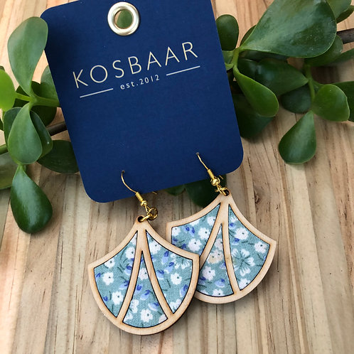 Timber & Fabric Art Deco Fan earrings - Aqua with white flowers
