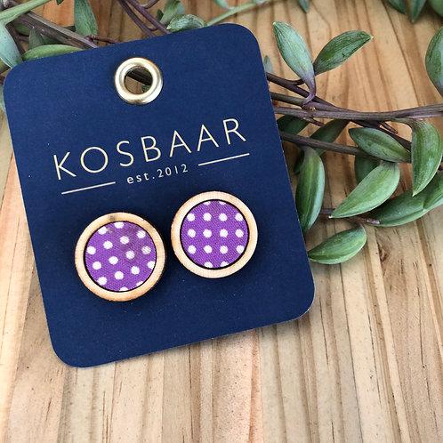 Timber & Fabric Medium round studs - Purple polka dots