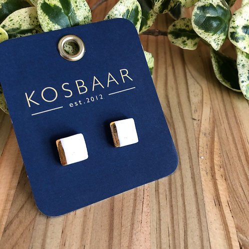 Porcelain square studs - White with 18kt gold stripe