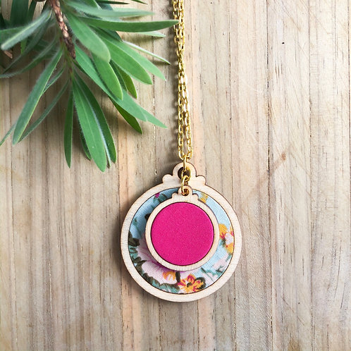 Timber & Fabric Doube Pendant - Floral and pink