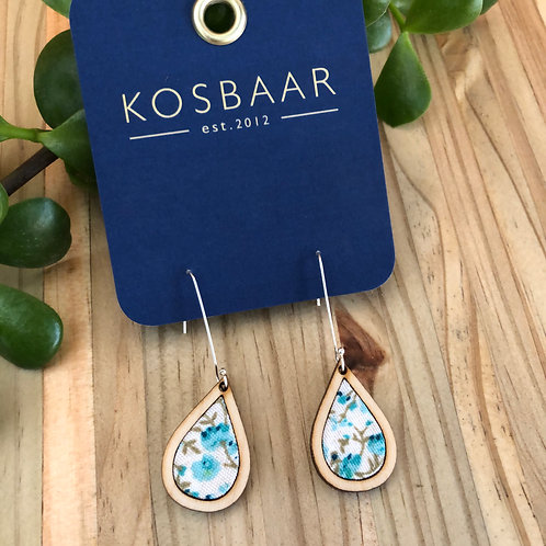 Timber & Fabric Small Teardrop earrings - Aqua floral