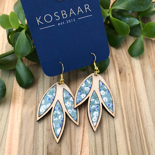 Timber & Fabric Falling Leaves earrings - Aqua with white flowers