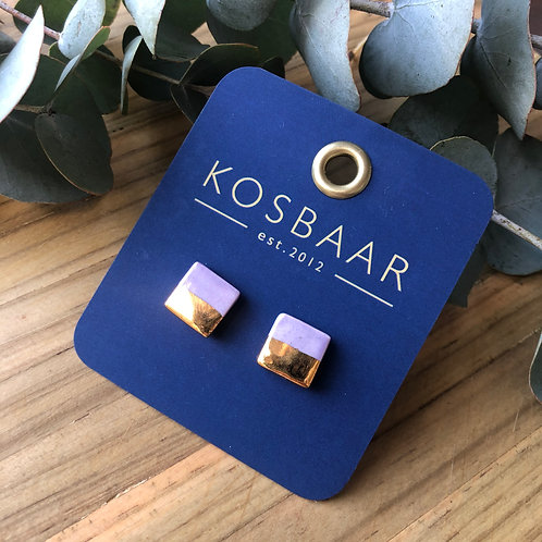 Porcelain square studs - Lilac and 18kt gold
