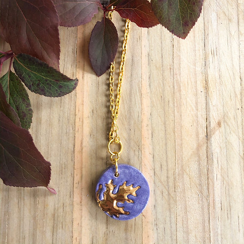Porcelain small disc on chain - Purple & 18kt Gold