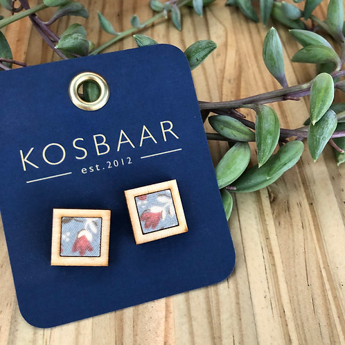Timber & Fabric Square studs - dirty blue with floral