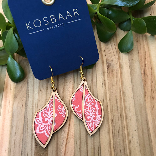 Timber & Fabric leaf drop earrings - Salmon pink with white paisley