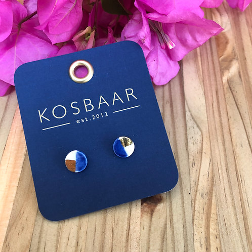 Porcelain Mini Round Stud - Navy with 18ktGold