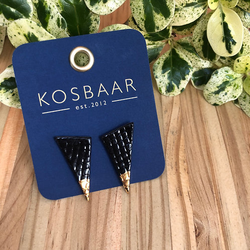 Porcelain Geometric stud earrings - Black and 18kt Gold