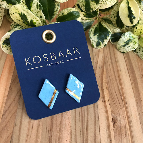 Porcelain Geometric stud earrings - Speckled Blue and 18kt Gold