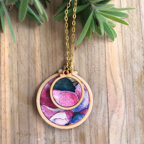 Timber & Fabric Doube Pendant - Watercolour pink