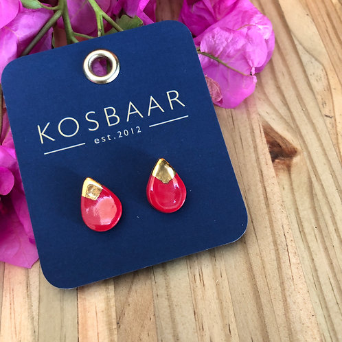Porcelain tear drop studs - Red and 18kt gold