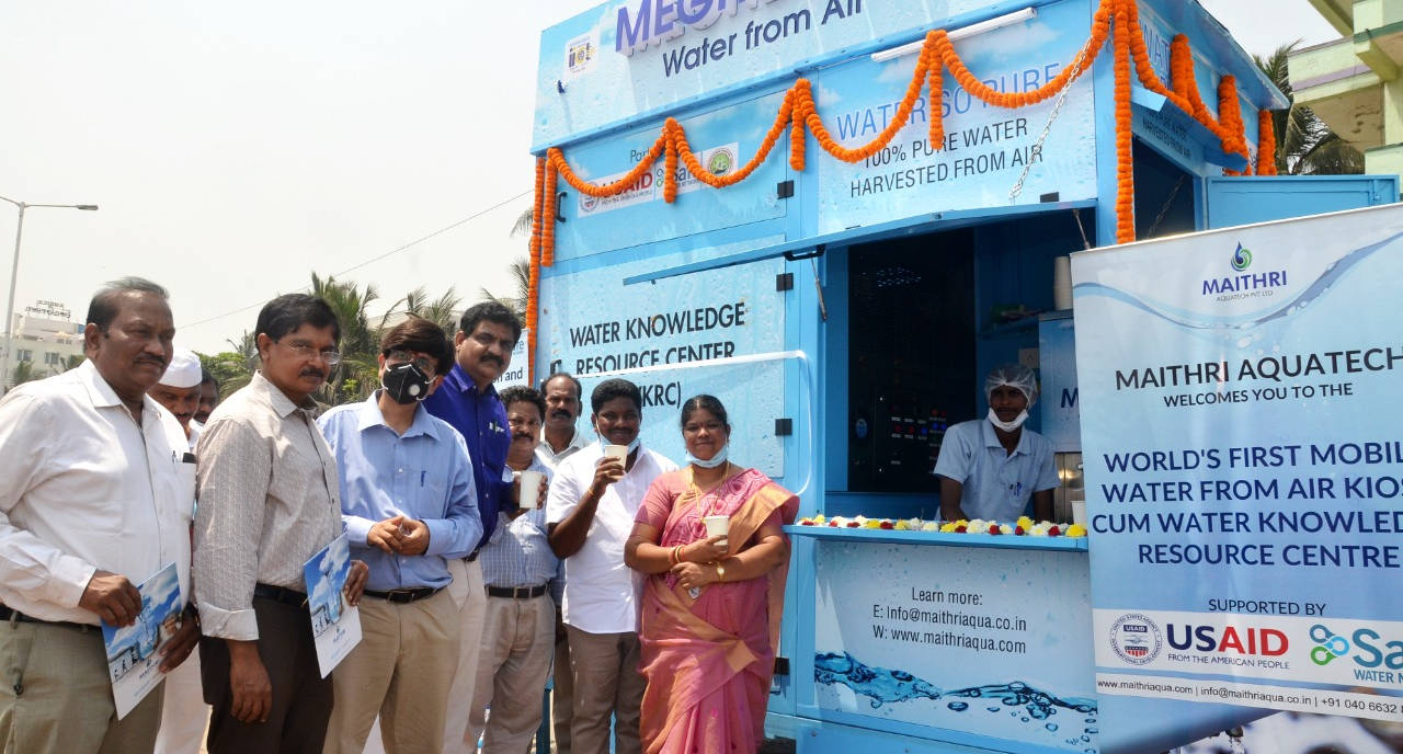 World's First Mobile Water from Air Kiosk cum Water Knowledge Resource Center installed in Vizag, Andhra Pradesh, India, in partnership with USAID, SWN and GVMC