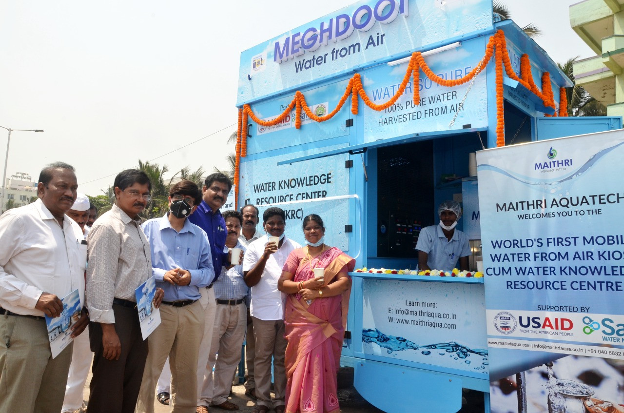 World's First Mobile Water from Air Kiosk cum Water Knowledge Resource Center installed at RK Beach, Opposite YMCA in Smart City Visakhapatnam, Andhra Pradesh, India. It was inaugurated by the Mayor of the City. The project was launched in partnership with USAID, Safe Water Network (SWN) and Greater Visakhapatnam Municipal Corporation (GVMC).