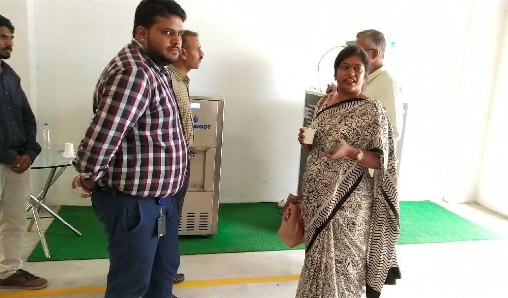 Executive Director of Tobacco Board, Mrs. K.Sunita (IAS) has a taste of fresh water generated by MEGHDOOT Atmospheric Water Generator.