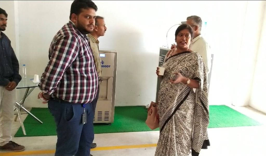 Executive Director of Tobacco Board, Mrs. K.Sunita (IAS) has a taste of fresh water generated by MEGHDOOT Atmospheric Water Generator
