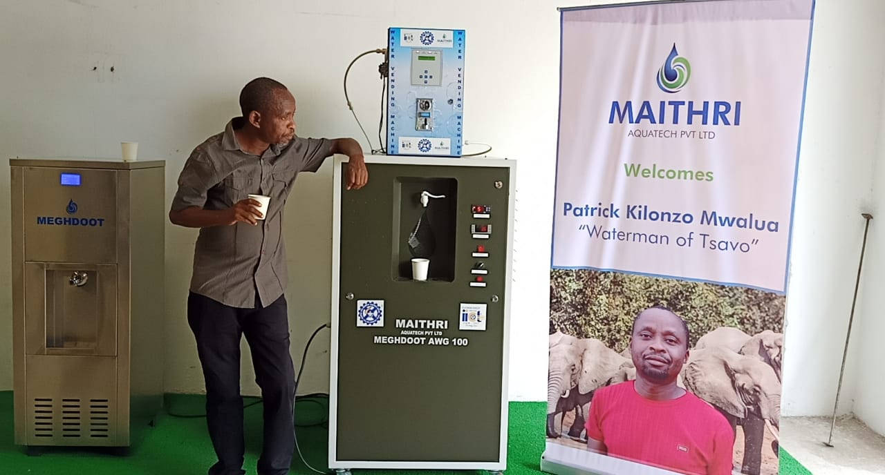 Mr. Patrick Kilonzo Mwalua, the Kenyan Waterman, has a sip of water produced by our MEGHDOOT Atmospheric Water Generator