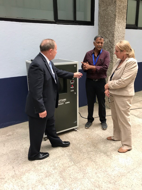 Maithri Aquatech's Director – Business Development, Mr. T. M. Shyam Sunder demonstrating the operation of the MEGHDOOT Atmospheric Water Generator to the OBO Bureau Director Mr. Tad Davis at the US Consulate in Chennai.