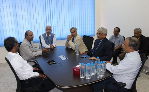 CMD of BEL Mr. M V Gowtama, Director (HR)-BEL Mr. R N Bagdalkar, Director of CSIR-IICT Dr. S. Chandrashekar, Distinguished Prof. Arun Tiwari, our Managing Director Mr. M Ramkrishna and staff discuss Maithri Aquatech and MEGHDOOT.