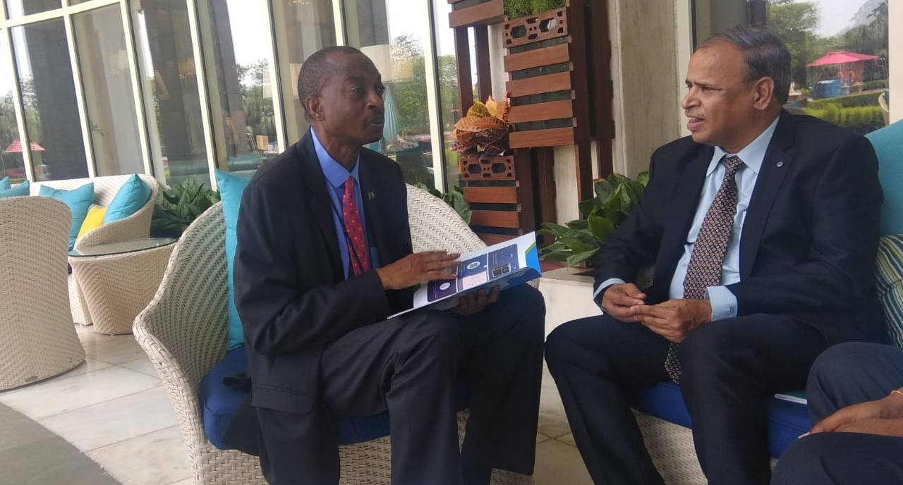 Maithri Aquatech's Managing Director, Mr. M. Ramkrishna with his Excellency, the Deputy High Commissioner of Zambia, Mr. H. Sikapale Chinzewe, discussing water availability and about MEGHDOOT