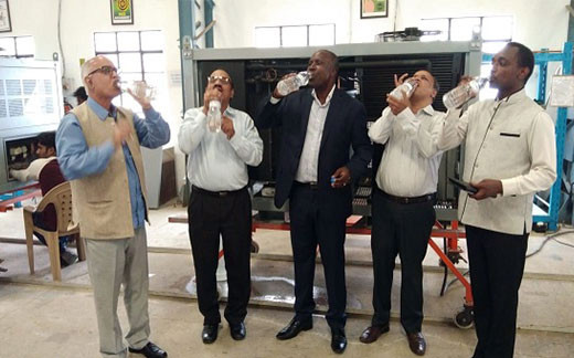 His Excellency Mr. Willy K Bett – High Commissioner of Kenya, Distinguished Prof. Arun Tiwari – Close associate and core team member of the late President Dr. A P J Abdul Kalam and Ex-CMD of ECIL Dr. P Sudhakar, have a taste of water produced from our MEGHDOOT Atmospheric water generator machine.