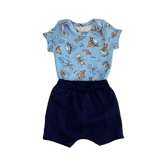 Conjunto Body e Short Cachorrinhos Astronautas
