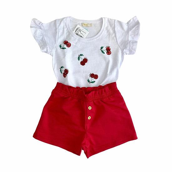 Conjunto Camiseta e Short Cerejas