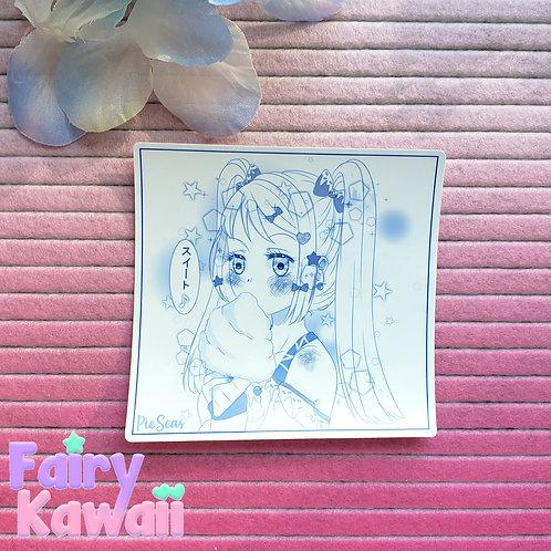 "Sweet Manga Girl 3""x 3"" Vinyl Kawaii Stickers"