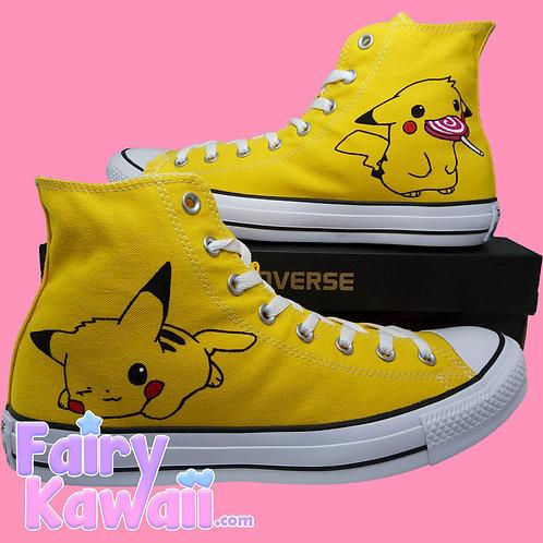 Kawaii Pika Shoes - Custom Converse Anime Shoes