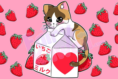 Kitten Strawberry Milk - Digital Desktop Wallpaper