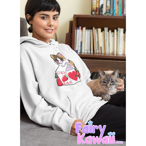Kitten Strawberry Milk Hoodie Kawaii Clothing