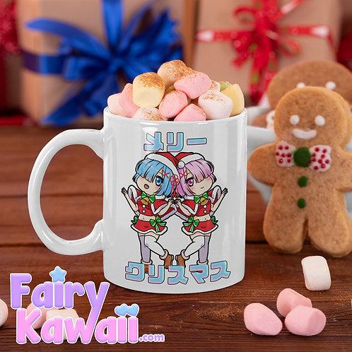 """Re:Zero Rem and Ram """"Merry Christmas"""" Kawaii Mug"""