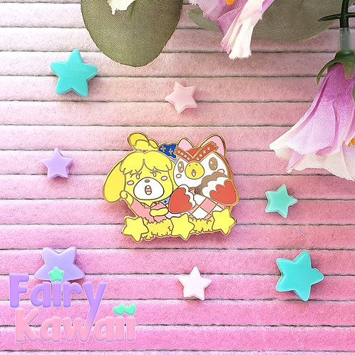 "Isabelle and Celeste Animal Crossing 1.5"" Hard Enamel Pin"