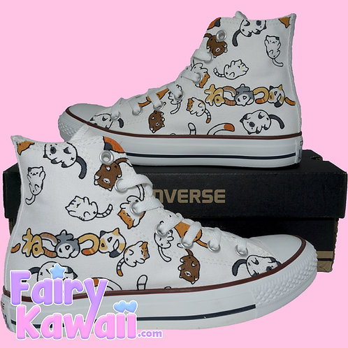 Neko Atsume Shoes - Custom Converse Anime Shoes