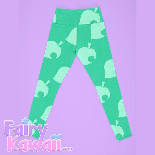 Animal Crossing Leaf Women's Leggings Kawaii Clothing