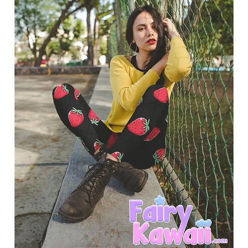 Kitten Strawberry Milk Women's Leggings Kawaii Clothing