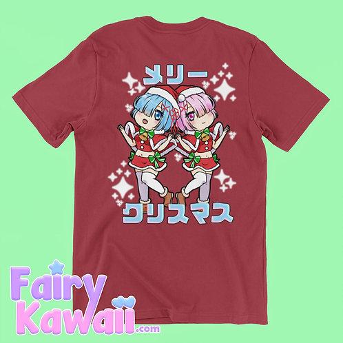 "Re:Zero Rem and Ram ""Merry Christmas"" Shirt Kawaii Clothing"