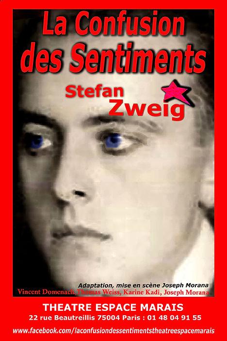 """Affiche du spectacle """"La confusion des sentiments"""" de Stefan Zweig au Théâtre Espace Marais."""
