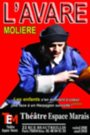 Affiche de l'Avare de Molière Théâtre Espace Marais