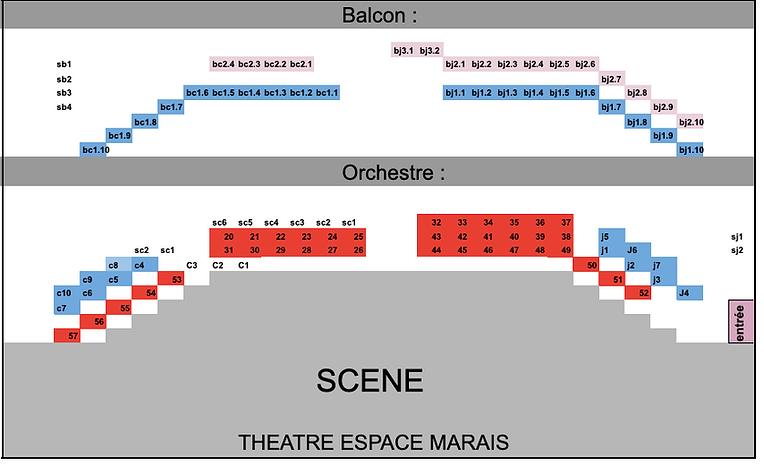 Théâtre Espace Marais : plan de la salle