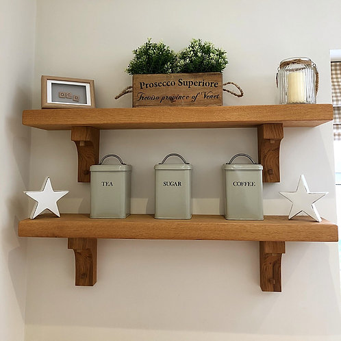Front view of Davies & Foster oak shelves