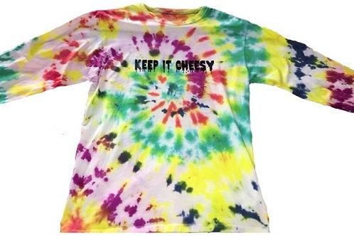 """Keep it Cheesy"" Tie Dye Long Sleeve Shirt"