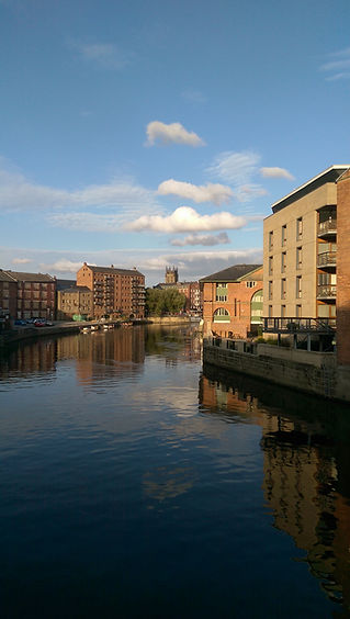River Aire + waterfront from Leed Bridge
