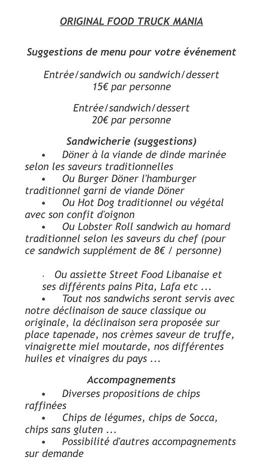 idée de menu food truck