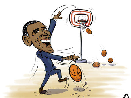 Barack Obama shooting hoops!