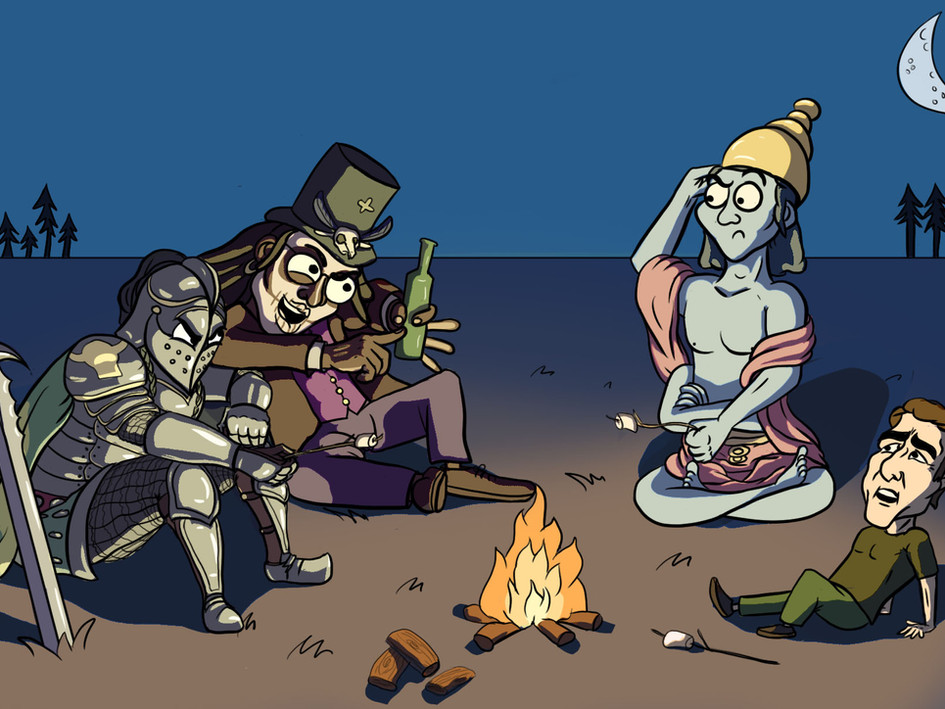 A little campfire with some unlikely characters