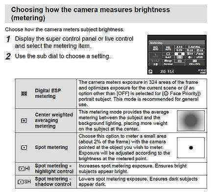 choosing how the camera measures brightness metering