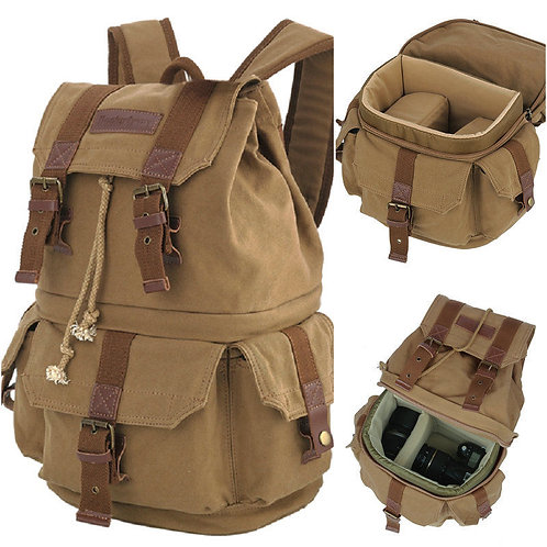 Koolertron Vintage Canvas Backpack DSLR Camera Bag