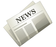 Clip art image of a newspaper with the main title News written in black as a header.